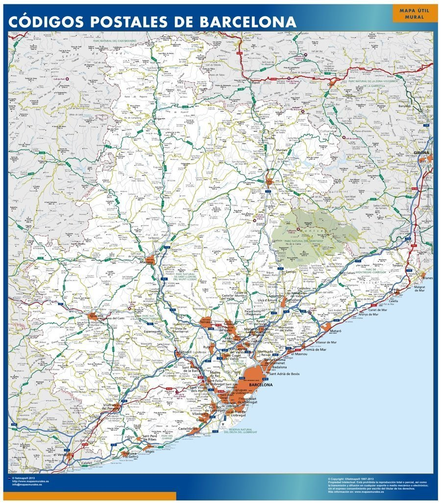 Barcelona Provincia Codigos Postales Tienda Mapas De Barcelona